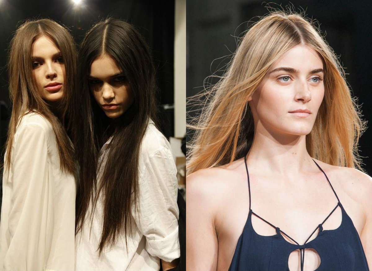 runway mid part long straight hairstyles