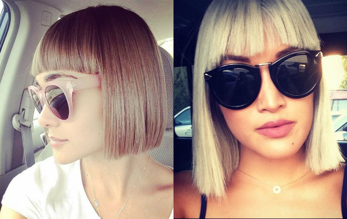 straight blunt bob hairstyles with bangs