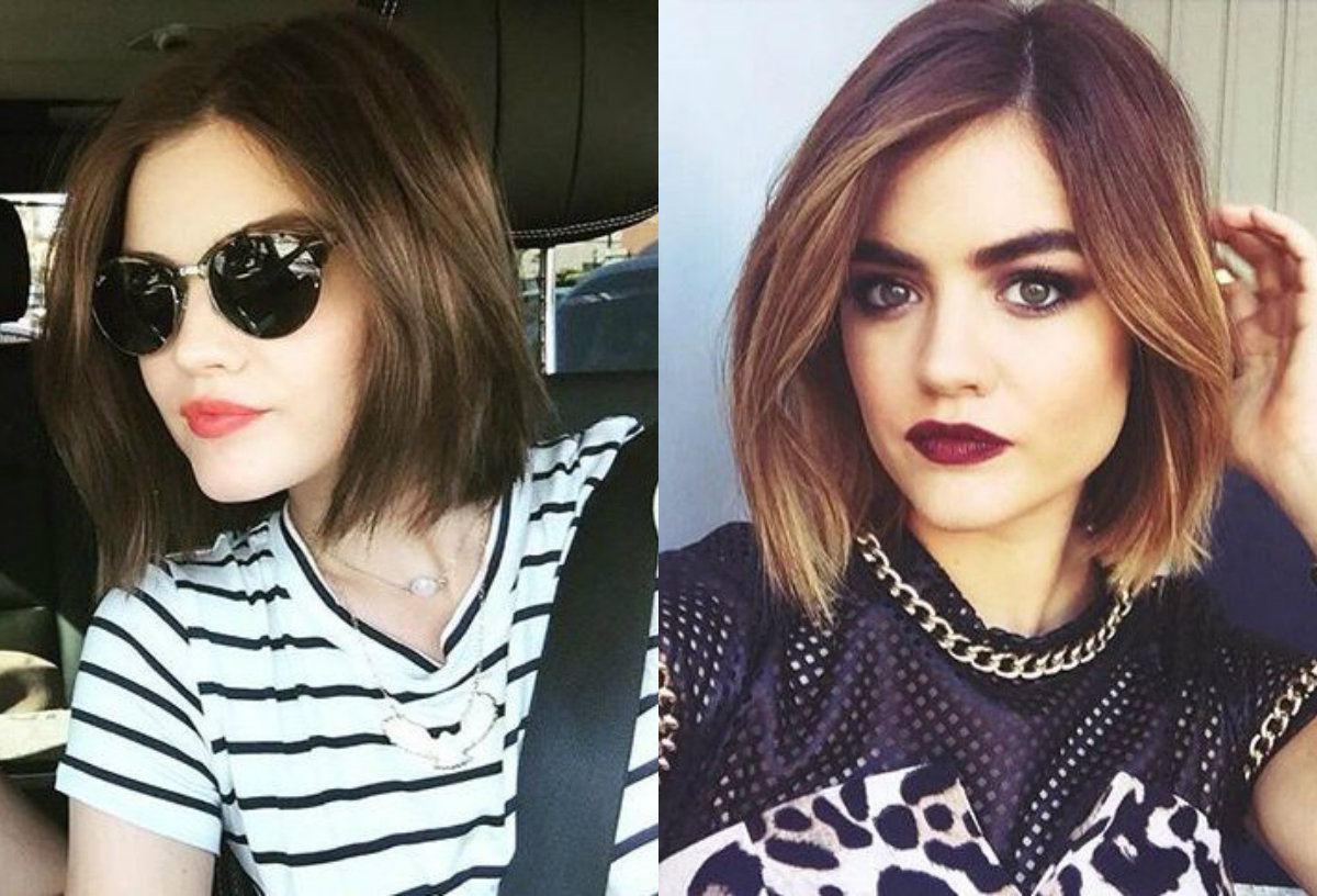 Lucy Hale brown bob hairstyles