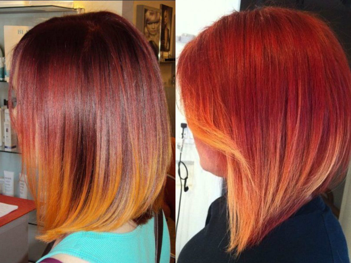 blorange hair colors 2017 with orange and pink highlights