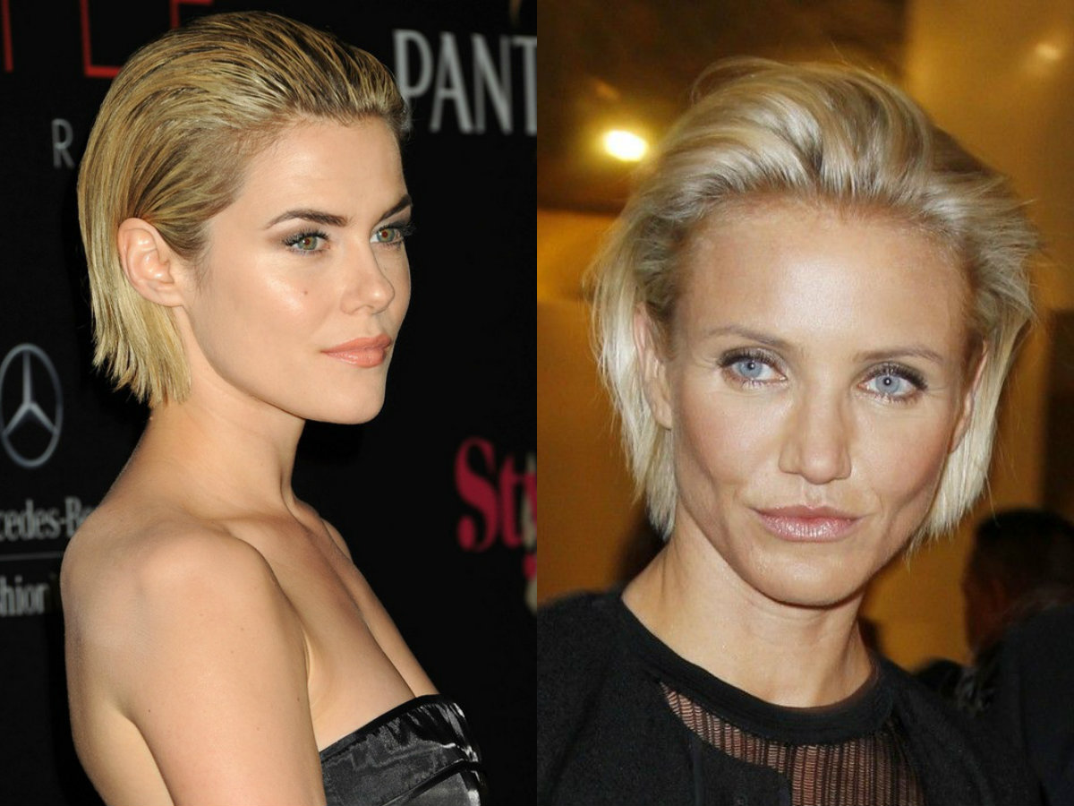 celebrity blonde slicked back bob hairstyles 2017