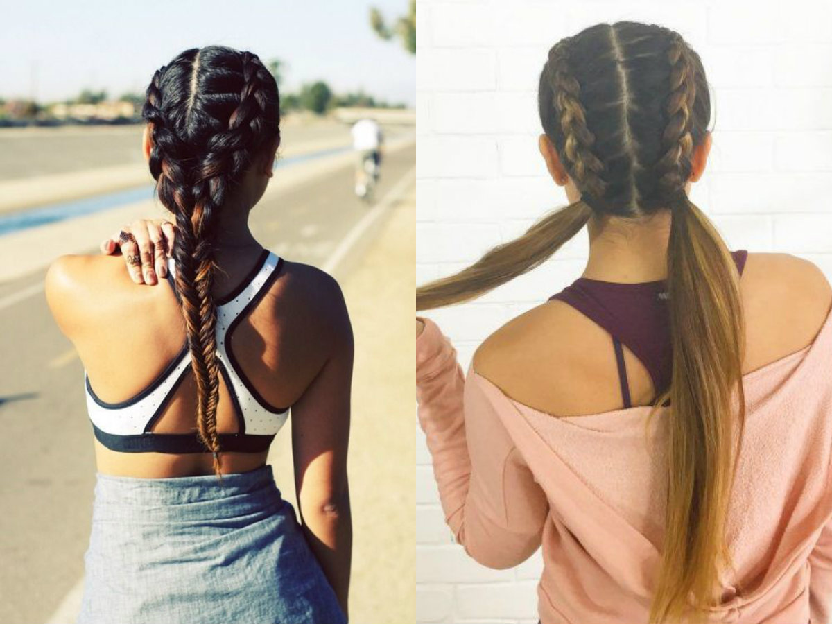 double braids hairstyles for gym