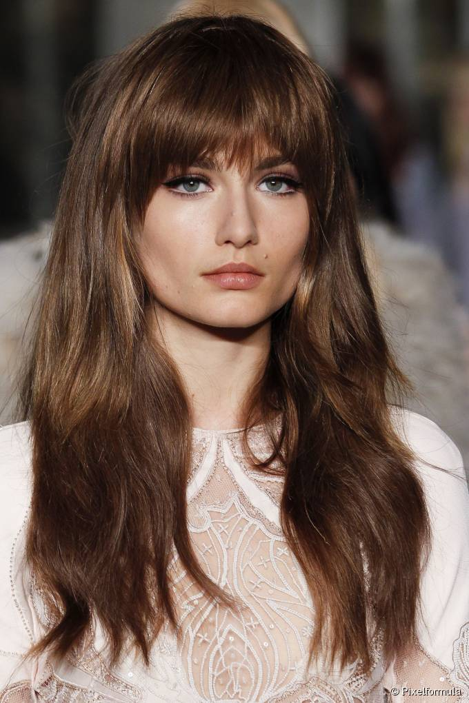 long hairstyles with thick bangs