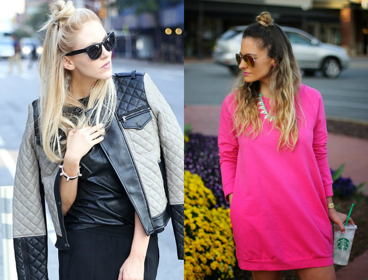 street style half up half down knots 2017