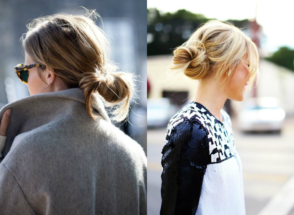 street style low knot hairstyles 2017
