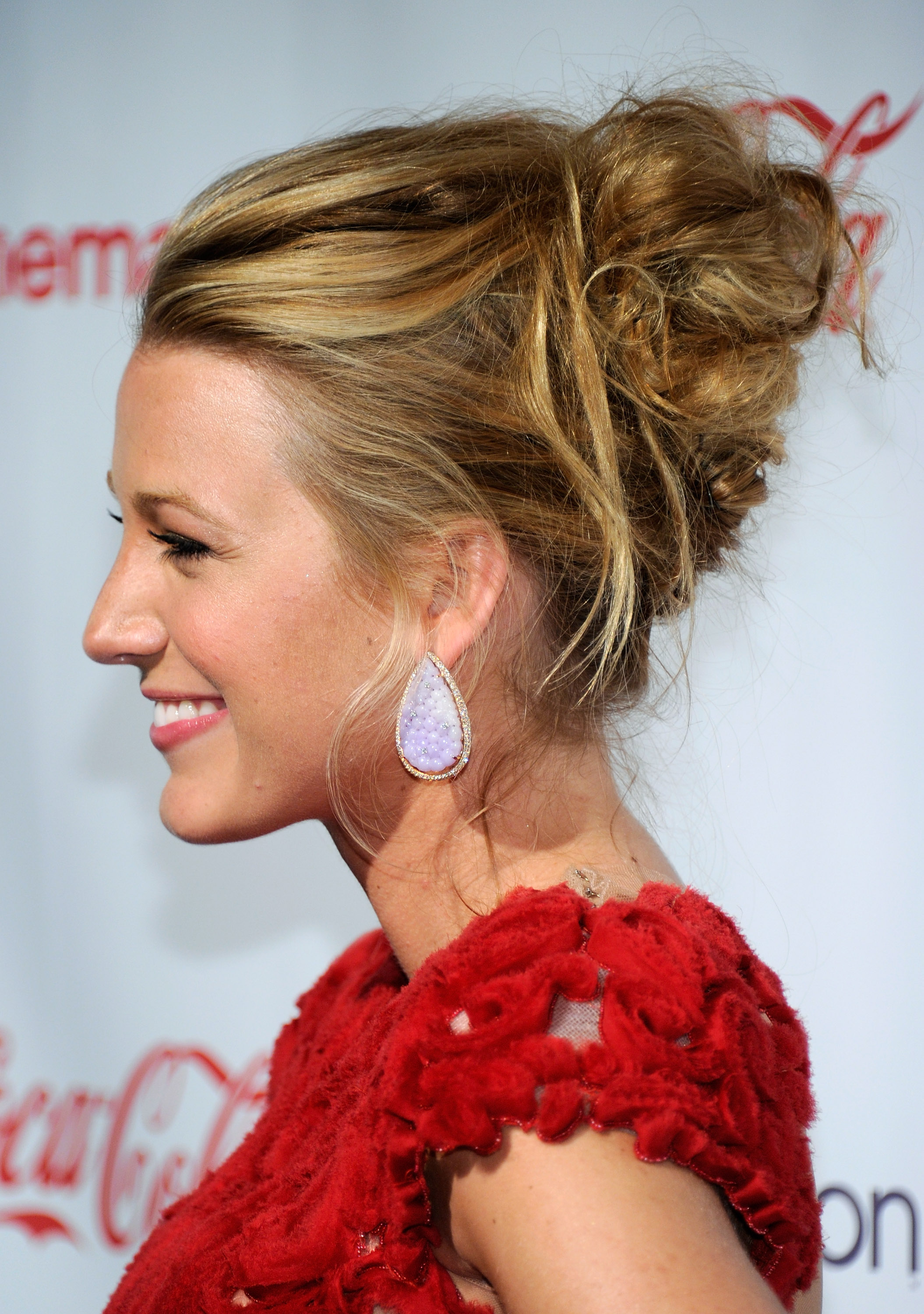 Blake Lively messy bun hairstyles