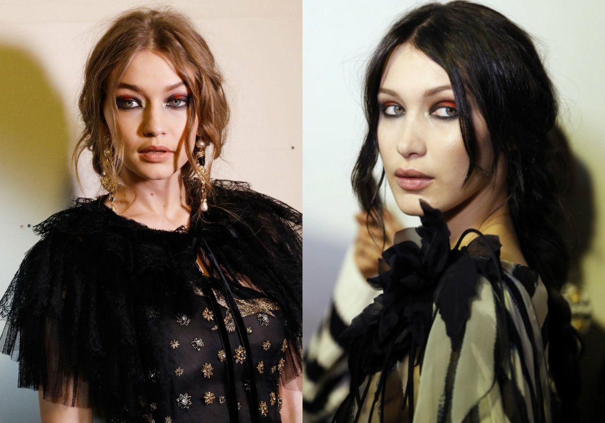 Gigi and Bella Hadid - Alberta Ferretti braids hairstyles 2017 Fall