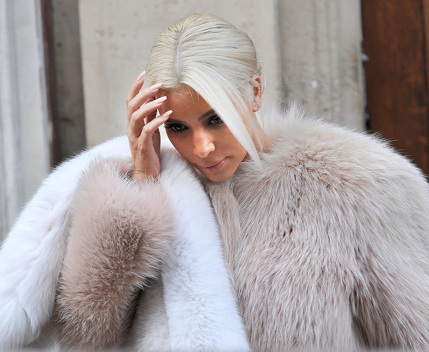 Kim Kardashian platinum blonde hair colors