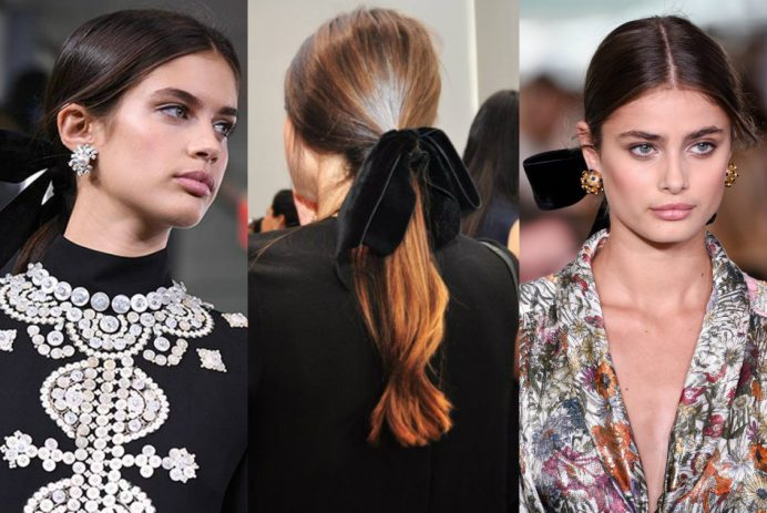 Tory Burch runway ponytail hair velvet ribbon 2017 Fall