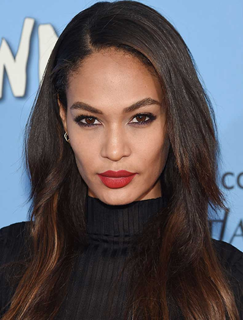 Joan Smalls chocolate brown hair colors for winter 2018