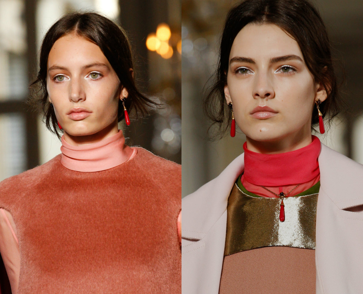 Valentino center part hairstyles 2017 fall-winter 2018