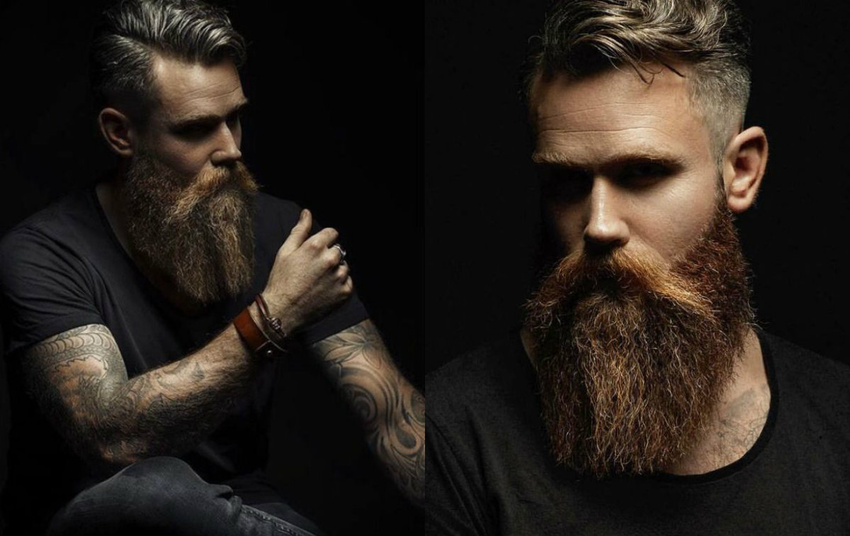 brutal men with short hair and long beards