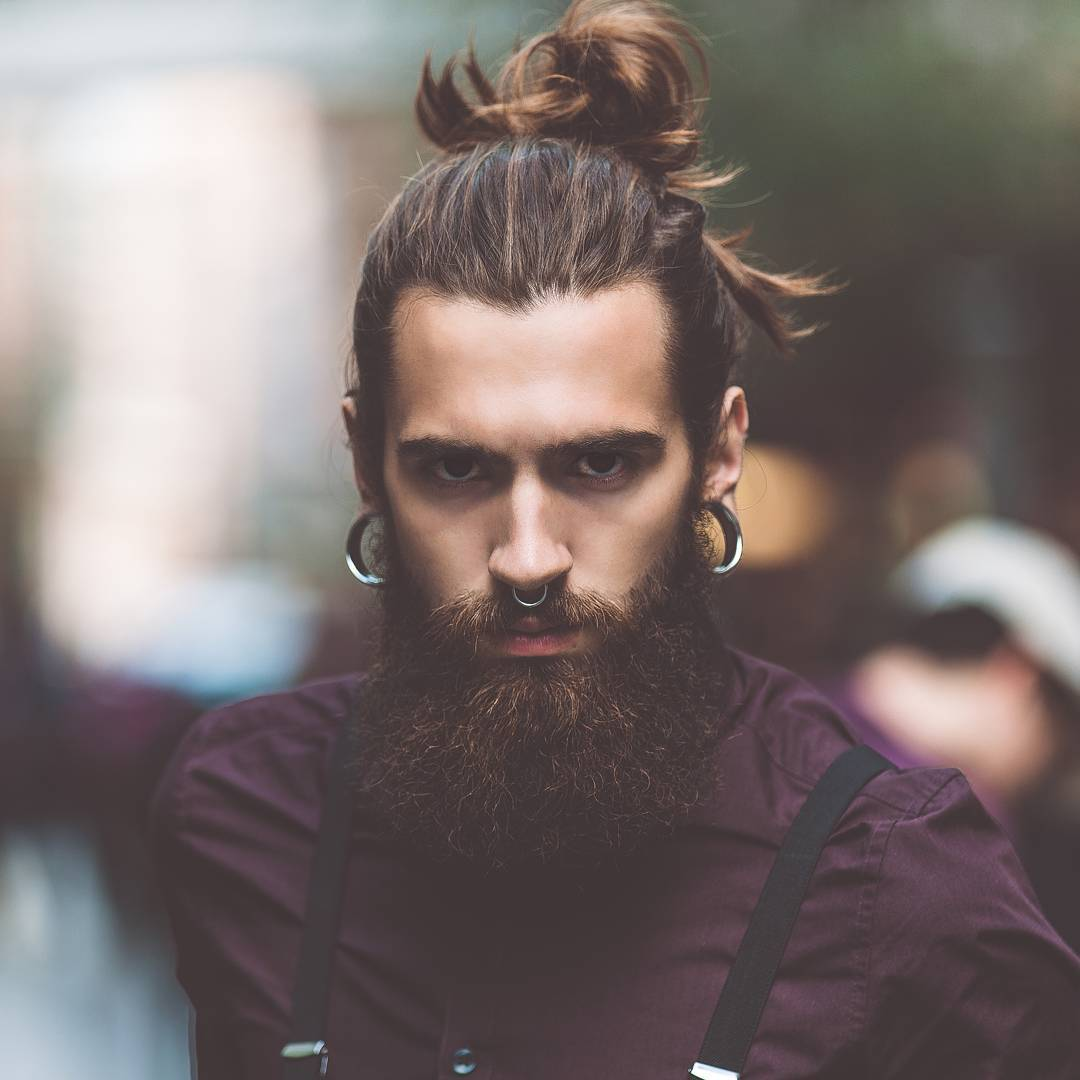 male top knots with beards 2018