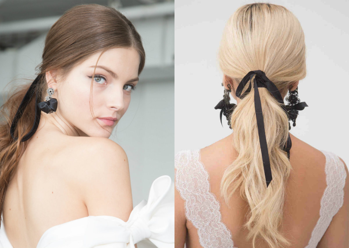 black velvet ribbon for wedding hairstyles 2018 Marchesa