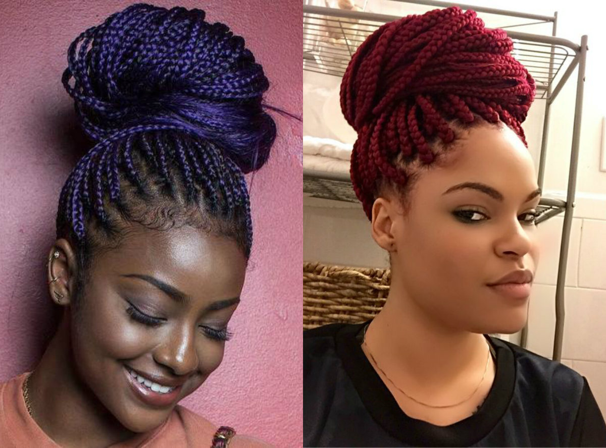 box braids bun hairstyles you will swear with | hairstyles