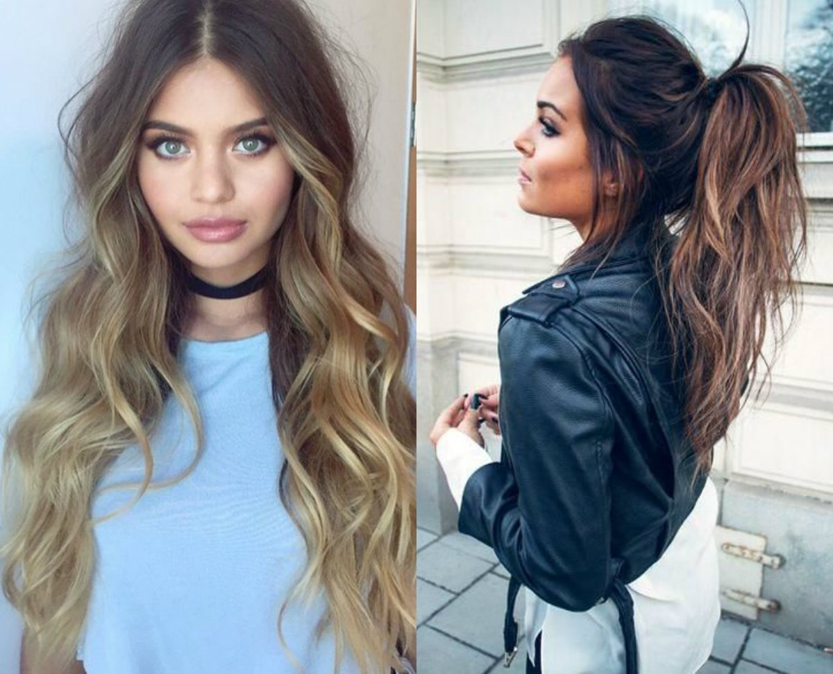 hypnotizing long brown hair with highlights | hairdrome