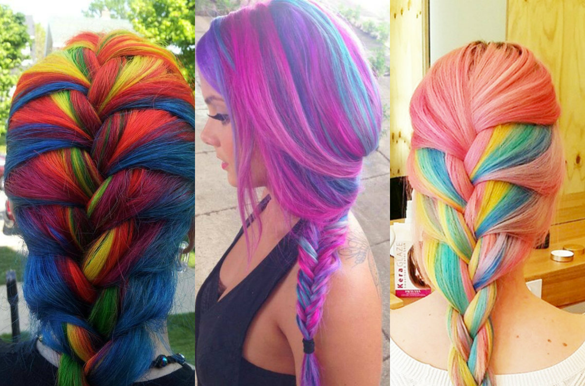 Striking Multi Colored Braids Hairstyles Hairdrome